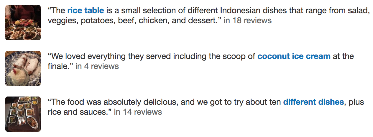 Featured reviews for an Amsterdam restaurant, according to Yelp.